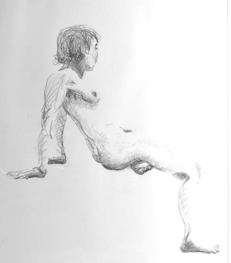 Skuggad sittande figur, blyerts, 2009, privat ägo