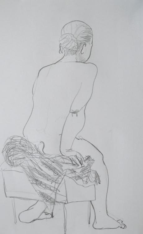 Sittande på badrock, kroki, blyerts, 2011