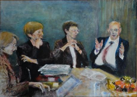 Tre huvudskreterare och en kansler, akryl, 2009, privat ägo