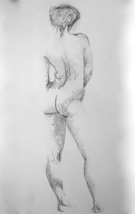Skuggad stående figur, blyerts, 2008, privat ägo