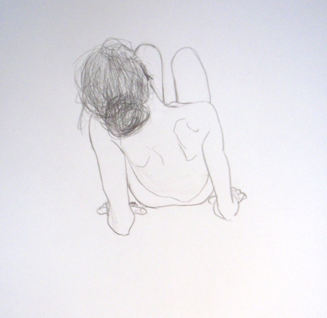 Vila på armbågarna, kroki, blyerts, 2010