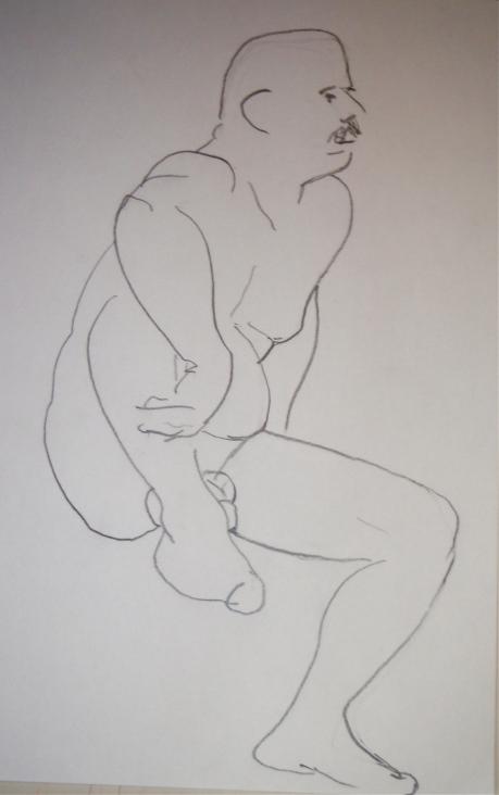 Sittande, kroki, blyerts, 2008