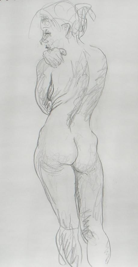 Handen på axeln, kroki, blyerts, 2009