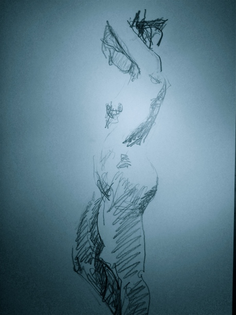 Skuggad figur från sidan, kroki, blyerts, 2008