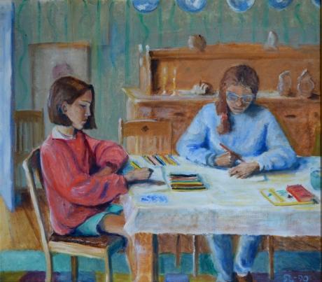Mette och Nina tecknar, olja, 1990