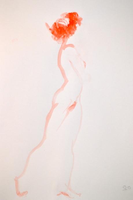 Handen i håret, kroki, akvarellfärg, 2013