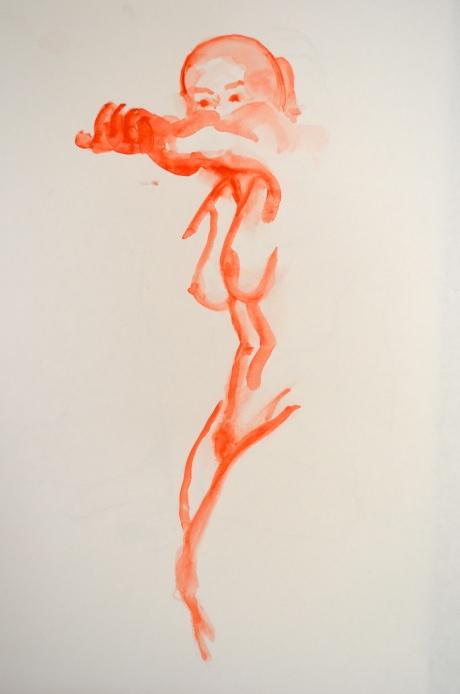 Självförsvar, kroki, akvarell, 2013