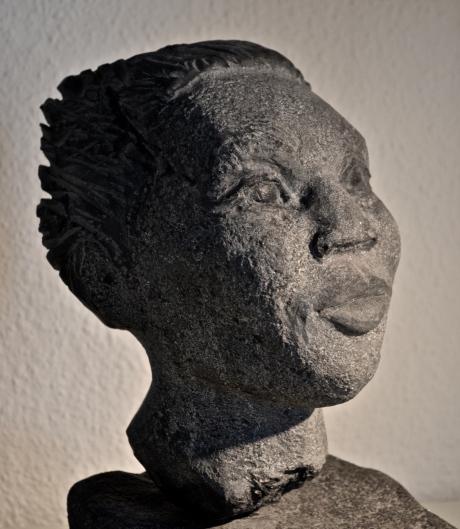 Människans ansikte, skulptur, idorit, 2014