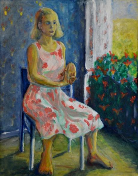 Den blommiga klänningen, olja, 1988