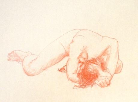 Framstupa, kroki, röd krita, 2015
