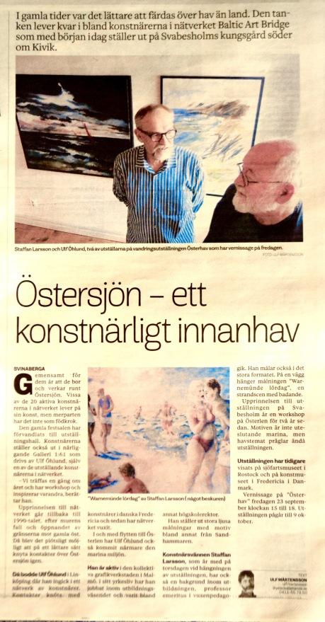 Österhav artikel Ystad Allehanda den 24 sept.2016